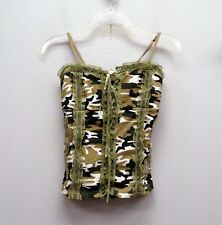 BOA Size S Brown Green Camoflage Spaghetti Strap Lace Detail Corset Top