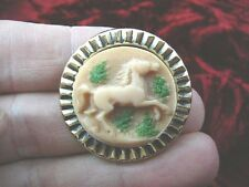 (cs14-24) HORSE tan ivory CAMEO brass Pin Jewelry brooch PENDANT love horses