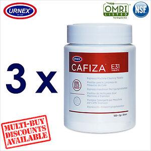 3 x Urnex CAFIZA E31 100 Cleaning Tablets Espresso Machine Cleaner Organic