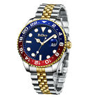 Men Classic Stainless Steel Wristwatch Quartz Silver Gold Tone Blue Analog Face