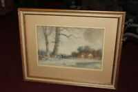 Antique Watercolor Painting Farm Barn House Trees Fields Signed Framed Small