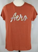 Aeropostale Womens Ladies Rust Floral Applique Tee T-Shirt Size XL NEW