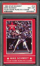 "1983 Star Schmidt #10 Mike Schmidt  ""Four Home Runs In A Game"" HOF PSA 8"