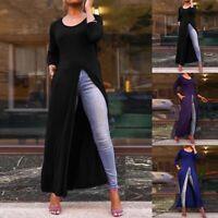 UK Women Party Maxi Dress Casual Split Hem Long Shirt Flare Oversize Top T-Shirt