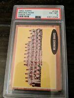 "1962 Topps Baseball MILWAUKEE BRAVES Team Card ""Green Tint"" #158 PSA 6 EX-MT"