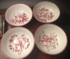 """4 - WILLIAMS SONOMA HOLIDAY TOILE SOUP CEREAL BOWLS 7"""", Red"""