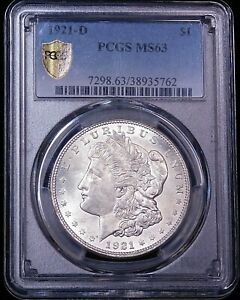 1921 D Morgan Silver Dollar PCGS MS63 Blast White Frosty Luster PQ #G6853