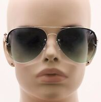 New Celebrity Aviator Sunglasses 2-toned Gradient Oceanic Lenses Metal Rimless