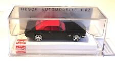 BUSCH HO SCALE 1/87 1964 1/2 FORD MUSTANG CONVERTIBLE -TOP UP - BLACK - NEW