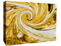 Modern Mustard Yellow and Grey Spiral Swirl Abstract Canvas Wall Art Print