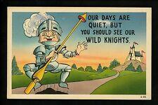 Military Armor postcard comic cartoon knight lance C-32 castle