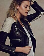 NEW $856 Free People x DOMA Quilted Leather Colorblock Jacket Size Small