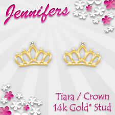 Gold Crown Earrings Stud 14ct* Tiara Princess Royal Studs Earring Jewellery Cute