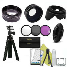 TELEPHOTO LENS + WIDE ANGLE LENS /FLEX TRIPOD/ FILTERS FOR CANON EOS REBEL T1 T2