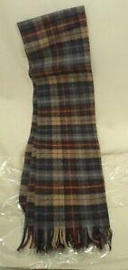 "Pendleton Plaid 100% Virgin Wool Scarf 12 1/2"" X 52"" Made in USA"