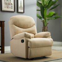 Plush Recliner Livingroom Reclining Chair Man Cave TV Living Room, Beige / Brown