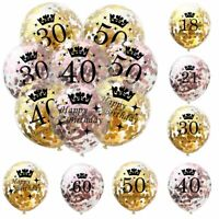 10PCS Gold Happy Birthday Banner Balloons 18/21/30/40/50/60/80/90th Party Xmas