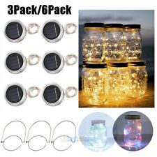 3/6Pack 20Led Solar Mason Jar Lid Lights Outdoor String Fairy Hanging Lanterns
