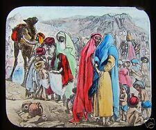 Glass Magic Lantern Slide MANNA GIVEN C1900 LIFE OF MOSES RELIGION