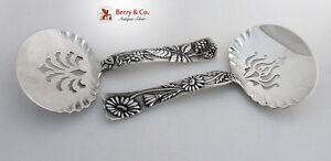 Tiffany And Co Pair Bon Bon Spoons Daisy Raspberry Sterling Silver 1872