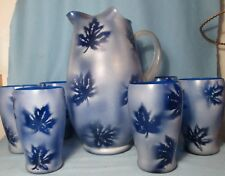 Cobalt Blue Frosted Art Glass Pitcher with Applied Reed Handle & 6 Tumblers