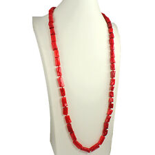 Genuine semi preziose di mare in Bambù Corallo Rosso Forma Astratta Collana Lunga in pietra