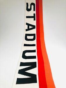 POLO RALPH LAUREN STADIUM SCARF NECK WRAP BLACK / RED / CREAM WOOL-BLEND SCARF