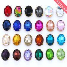 36pcs Sew On 14x10mm oval rhinestone crystal cabochons cut glass gold claw y-pk
