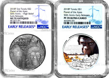 2-Coin-Set 2018 Planet of the Apes SILVER $2 & $1 1oz 2oz NGC MS PF 70 ANTIQUED