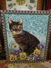 Vintage Hand Stitched Completed Needlepoint Brown Tabby In Pansy Flowers 15X12