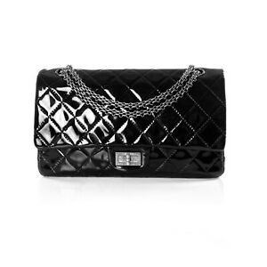 Chanel Maxi 227 Jumbo Black Patent Leather Reissue 2.55 Double Flap Bag Rutheniu