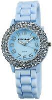 Excellanc Damenuhr Blau Analog Strass Metall Silikon Armbanduhr X225823000003