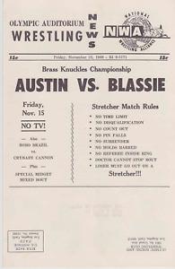NWA Wrestling Mailer November 1968 Olympic Auditorium Buddy Austin Vintage