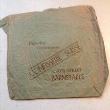 Genuine old Vintage Paper Bag Confisserie Swisse, Cross Street, Barnstaple