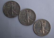 3 Coin 1943 PDS Walking Liberty Silver Half Dollar Lot 50 Cents Walkers Circ M2
