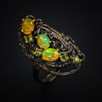 Fine Art Design Fashion Jewelry Natural Opal Sterling Silver Ring / RVS294