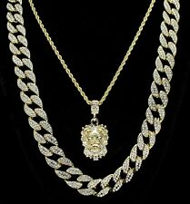 """Mens 3pc Set Lion Head Iced Out Cuban Link 14k Gold Plated 18"""" 24"""" Chains HipHop"""