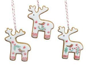 Gisela Graham Christmas -  Set of 3 Iced Gingerbread 7cm - Reindeers