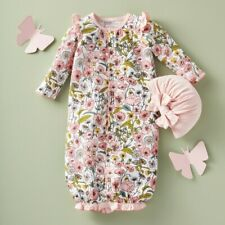 Mud Pie H0 Fall Harvest Baby Girl Bamboo Floral Gown & Hat Set 0-3M 11060133