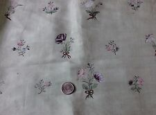 Rare 18thC French Hand Painted Florals & Bows Silk Dress Fabric~Dolls