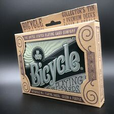 Bicycle Playing Cards Collectors Tin 2 Premium Decks Green Purple