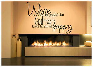Wall Sticker Wine Quote Kitchen God Happy Bar Vinyl Mural Decal Decor ZX1366