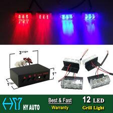 12 LED Blue Red Car Front Grille Deck Emergency Warning Lights Strobe Lamp 12V