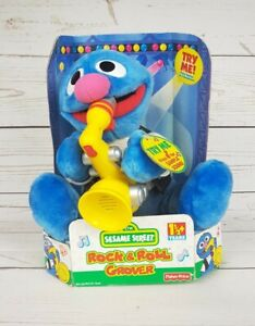 Sesame Street Rock and Roll GROVER musical stuffed animal plush vintage 1999