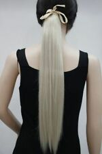 """fashion pale blonde hair extensions pieces 22"""" long straight clip in ponytail"""