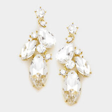 """LUSH Statement Gold Crystal BIG 2.5"""" Cocktail Bridal Earrings By Rocks Boutique"""