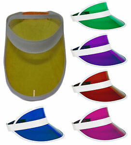 New Unisex Sun Visor Pub Golf Poker Colour Clear Hat Vegas Cap 80's Fancy Dress