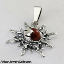 CHERRY BALTIC AMBER PENDANT 925 STERLING SILVER ARTISAN JEWELRY COLLECTION J053