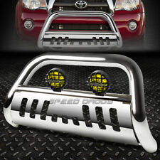 """CHROME 3"""" BULL BAR GRILLE GUARD+YELLOW FOG LIGHT FOR 05-15 TOYOTA TACOMA 2WD/4WD"""