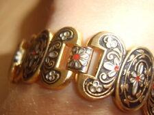 Vintage? Gold Tone Black Floral Damascene Look Bracelet Folk Bohemian Style